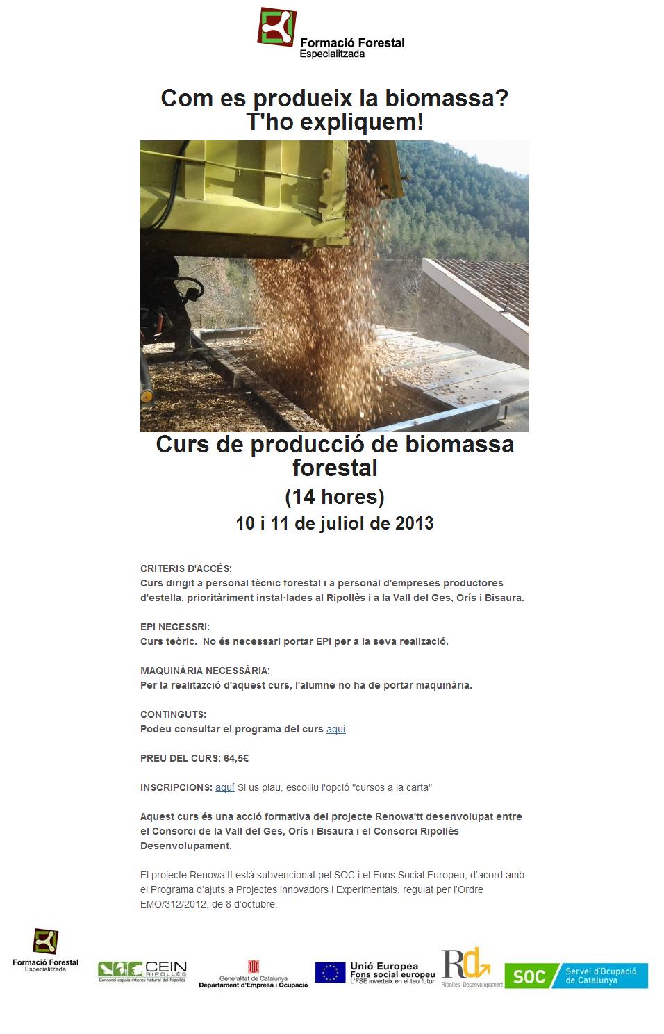 curs biomassa